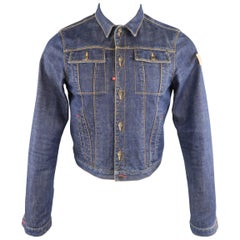 DSQUARED2 38 Indigo Denim Cropped Jean Jacket