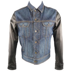RAG & BONE M Indigo Denim Leather Sleeves Trucker Jacket