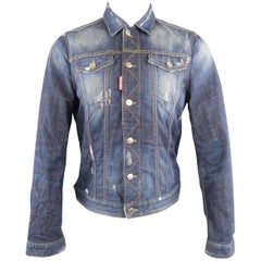 DSQUARED2 42 Indigo Distressed Denim Jacket