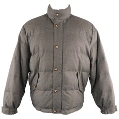 LORO PIANA M Charcoal Quilted Wool Jacket