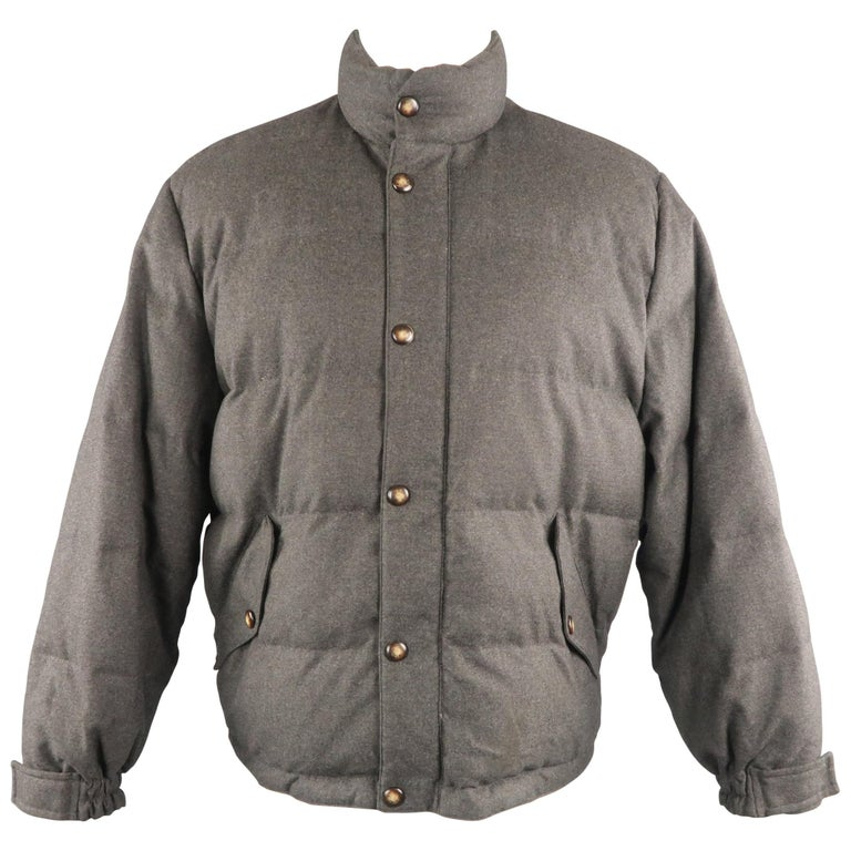 LORO PIANA M Charcoal Quilted Wool Jacket For Sale