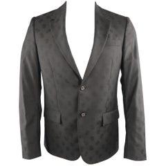 ALEXANDER MCQUEEN 38 Black Skulls Wool Sport Coat