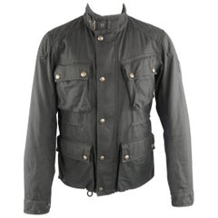 BELSTAFF 40 Black Solid Cotton Sport Racing Jacket