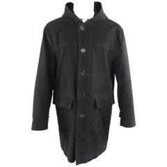 MARC JACOBS 40 Black Solid Cotton Hooded Long Coat