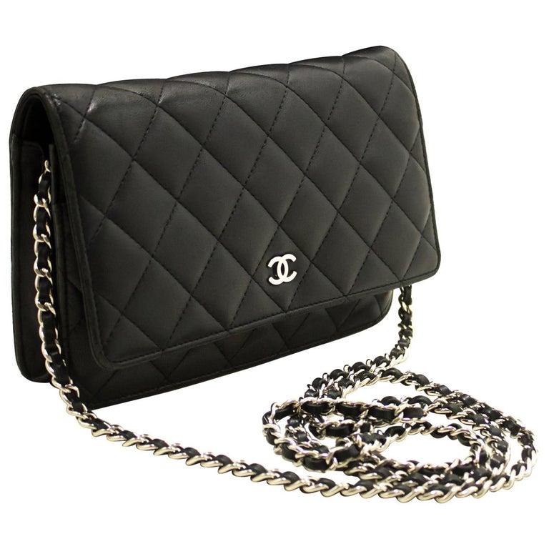 d044e9e3a2d11d CHANEL Black WOC Wallet On Chain Shoulder Crossbody Bag Clutch For Sale