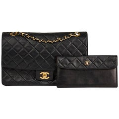 1991 Chanel Black Quilted Lambskin Tall Classic Single Flap Bag with Wallet