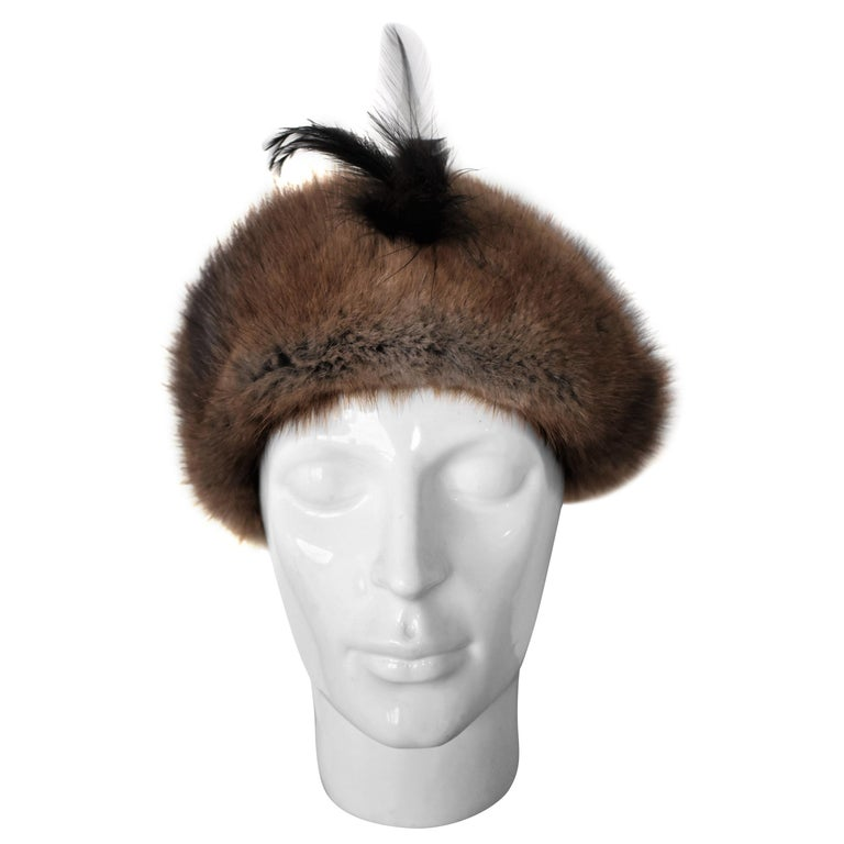 64bdd884869 Vintage 1960s Fur Hat with Feather For Sale at 1stdibs