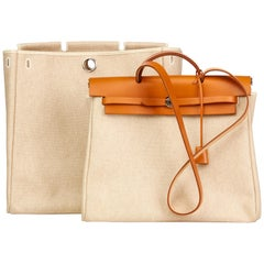2001 Hermes Natural Hunter Cowhide Leather & Beige Canvas Herbag MM 2 in 1