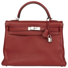 2006 Hermes Rouge H Clemence Leather Kelly 32cm Retourne