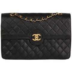 1986 Chanel Black Quilted Lambskin Vintage Classic Single Flap Bag