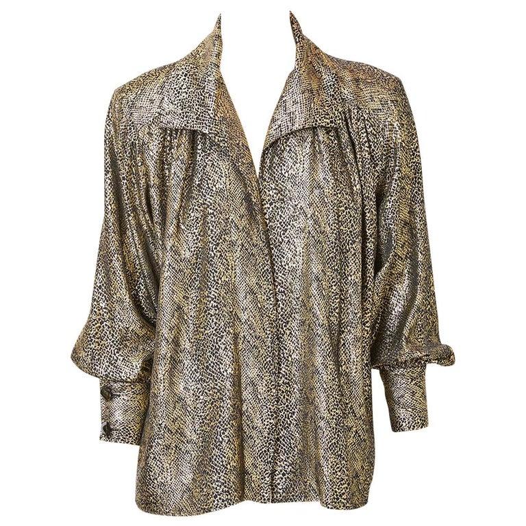 Yves Saint Laurent Rive Gauche Gold Lame Jacket For Sale