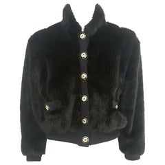 St. John Black Faux Fur Bomber Jacket  Convertible
