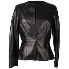 Carolina Herrera Jacket Peplum Black Lambskin Leather Feather Light 8 mint
