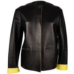 Celine Jacket Oversized Black w/ Yellow Interior Leather 34 / 6 mint