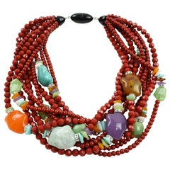 Angela Caputi Fruit Salad Red Resin Multi-Strand Statement Choker Necklace