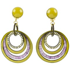 Francoise Montague Paris clip Earrings Resin Dangling Avocado Purple Hoop