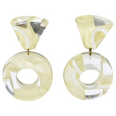 Harriet Bauknight for Kaso Dangle Loop Lucite Clip on Earrings White and Mirror