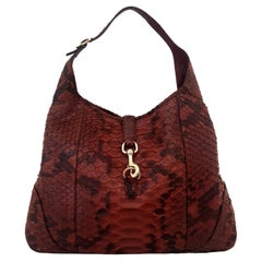 Gucci Jackie Burgundy Python Leather Hobo Bag