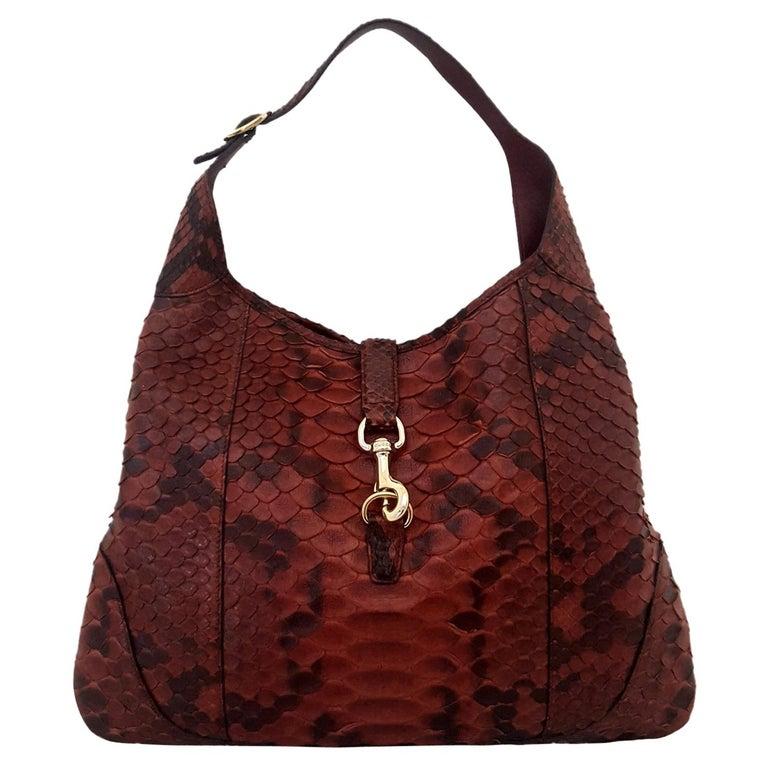 483ee1b3efbd Gucci Jackie Burgundy Python Leather Hobo Bag For Sale at 1stdibs