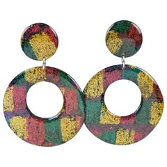 Italian Pop Art Dangling Lucite Pierced Earrings Multicolor Glitter Pattern