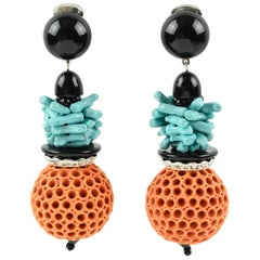 Angela Caputi Coral and Turquoise Dangling Resin Clip On Earrings
