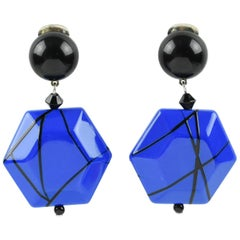 Angela Caputi Black and Electric Blue Dangling Resin Clip On Earrings