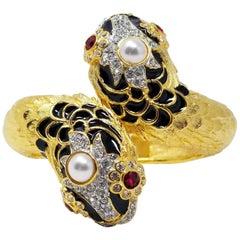 KJLKenneth Jay Lane Double Sea Serpent Crystal Enamel Faux Pearl Gold Bracelet