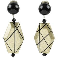 Angela Caputi Black and Pale Gold Dangling Resin Clip On Earrings