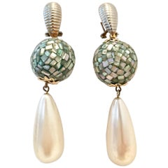70'S Abalone Shell & Faux Pearl Drop Pierced Earrings