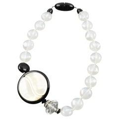Angela Caputi Sculptural Yin-Yang Black and White Beaded Choker Necklace