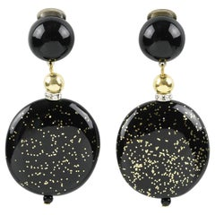 Angela Caputi Black and Gold Flakes Dangling Resin Clip On Earrings