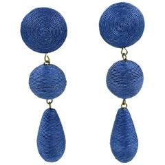 Oversized 1980s Blue Thread Dangling Pierced Earrings