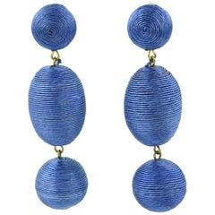 1980s Oversized Italian Blue Thread Dangling Clip on Earrings