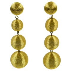 1980s Disco Time Oversized Dangling Gold Metallic Thread Pierced Earrings