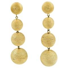 1980s Dancing Disco Oversized Dangling Yellow Thread Pierced Earrings