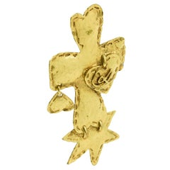 Christian Lacroix Paris Signed Large Gilt Metal Cross Pin Brooch with Charms
