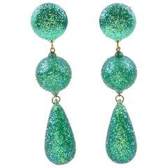 1980s Dancing GoGo Girl Long Dangling Turquoise Glitter Lucite Clip on Earrings