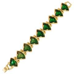 DeNicola Emerald Crystal Gold Nugget Link Bracelet 1960s