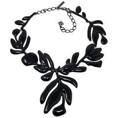 Oscar de la Renta Large Black Enamel Flower Statement Drop Necklace