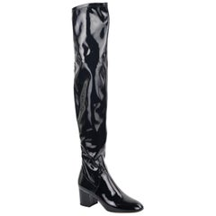 Valentino Black Patent Leather Thigh High Boots