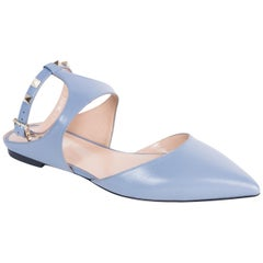 Valentino Rockstud Blue Pointed Toe Ballerina Flats