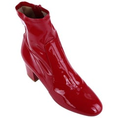 Valentino Red Patent Leather Ankle Boots