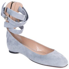 Valentino Blue Gray Suede Strappy Ankle Ballerina Flats