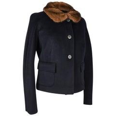 Blumarine Jacket Black Cashmere w/ Brown Mink Collar 6 Mint