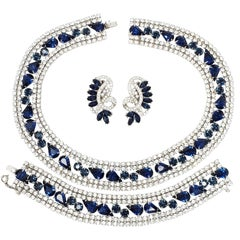 Vintage Signed Joseph Wiesner Parure With Clear and Sapphire Crystals in Silver