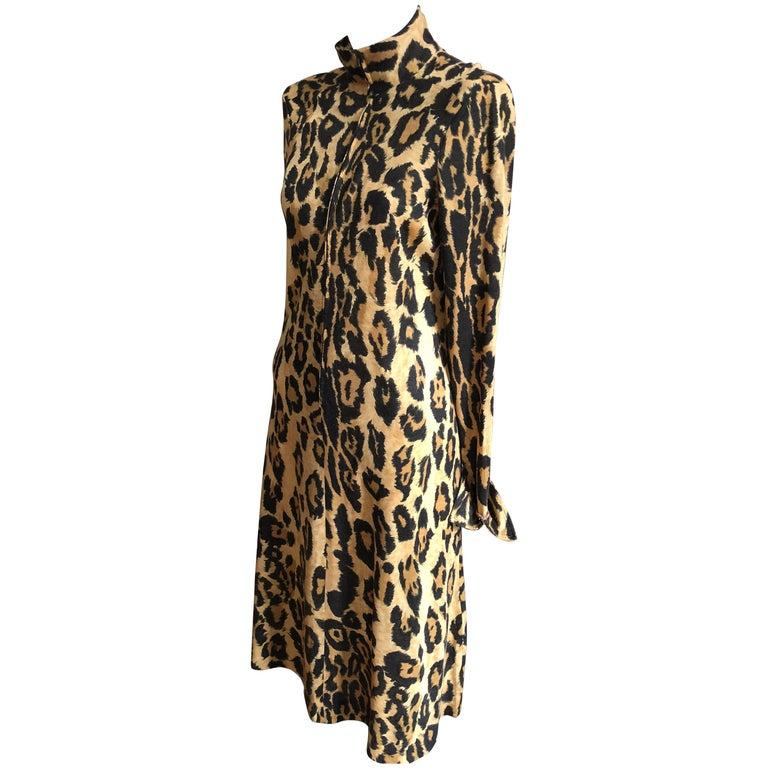 Rare 1970s Diane Von Furstenberg Leopard Print Dress At