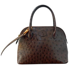 Hermes Genuine Ostrich Baby Bolide Handbag  Unused!