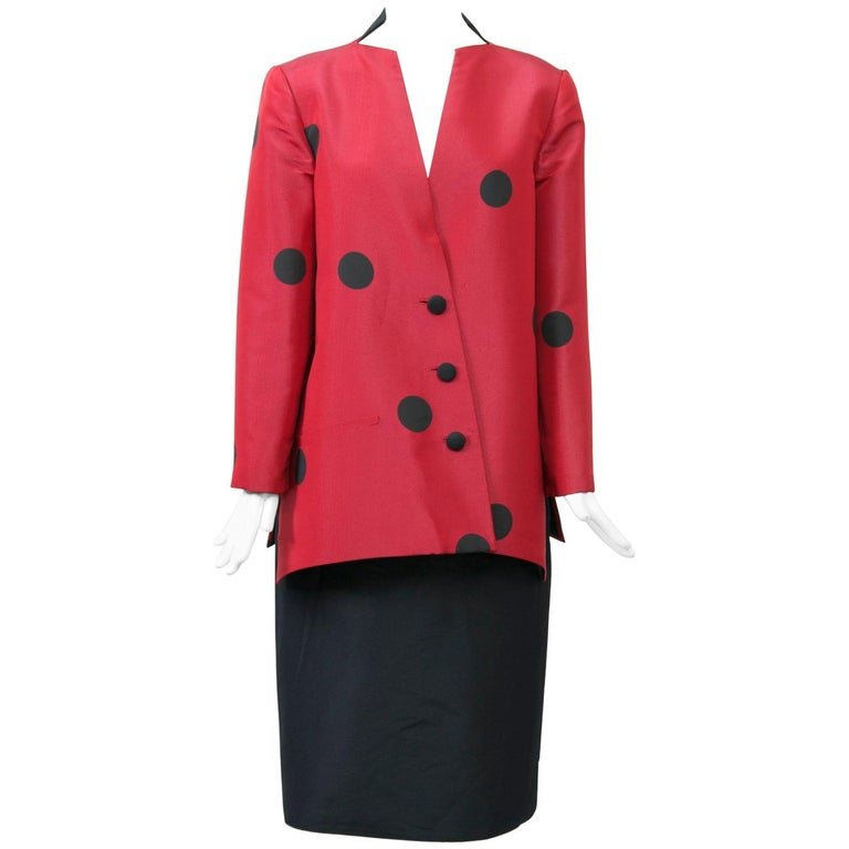 Geoffrey Beene Red and Black Silk Suit