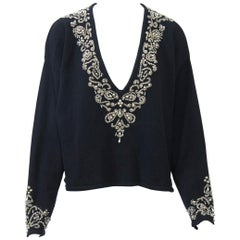 Donna Karan Beaded Cashmere Sweater