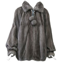 Gray Mink Zippered Jacket